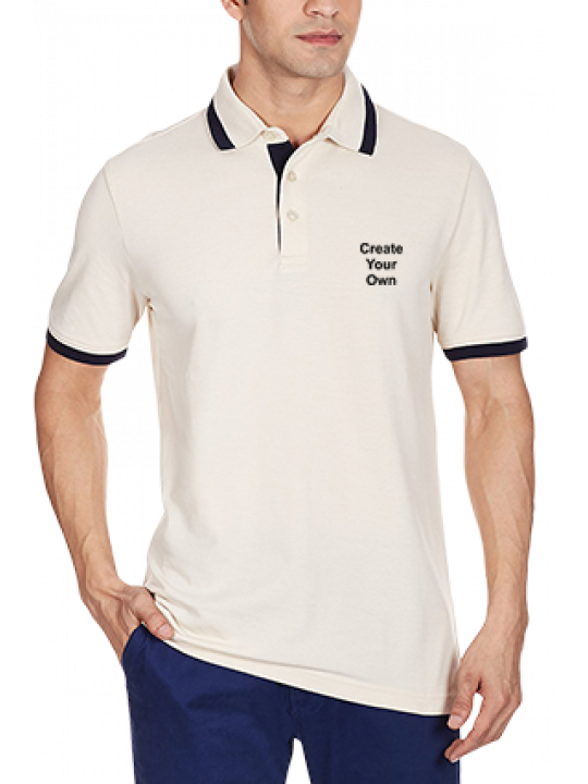 Side Print White ESS Pique Tipping Polo T-Shirt - 83272610