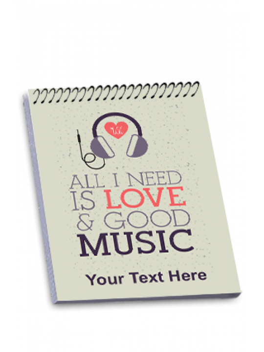 Music Is Love Top Spiral Notepad