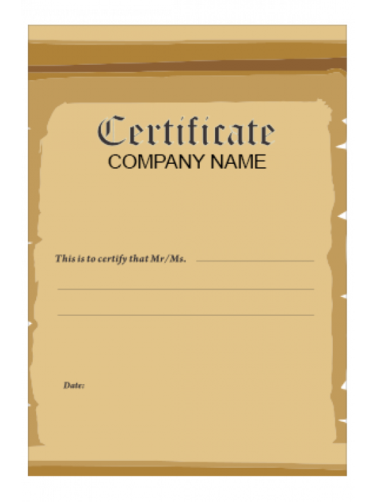 Certificate of Performance