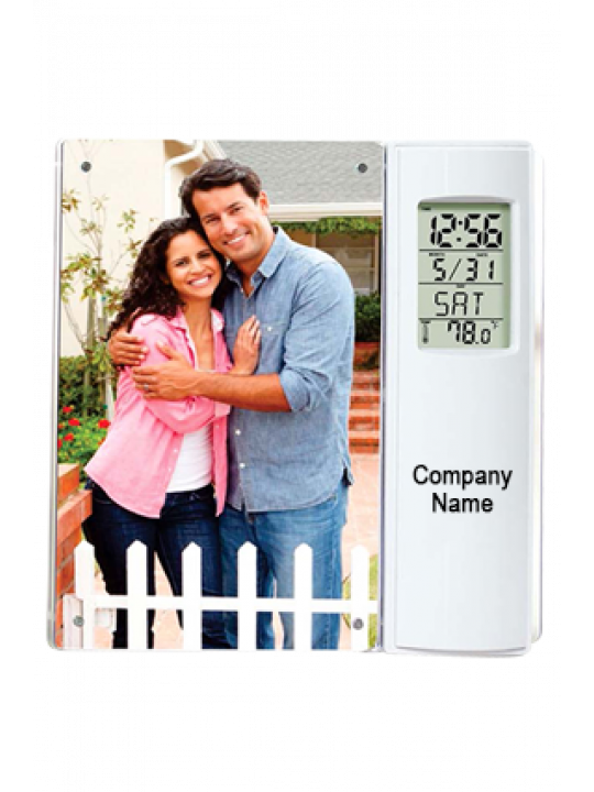 Clock With Temperature And Magnetic Photo Frame 4 X 6 Size-A124