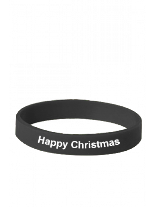 Happy Christmas Black Silicon Wristband
