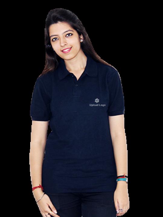 Printed Upload Logo Black Cotton Girl Polo T-Shirt