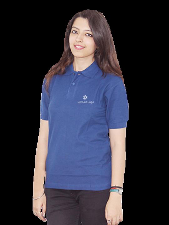Upload Logo Blue Cotton Girl Polo T-Shirt