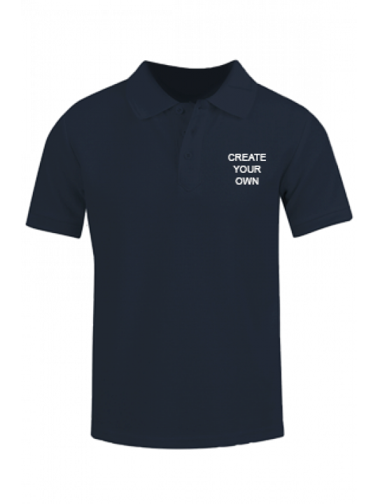 Create Your Own Navy Blue Cotton Polo T-Shirt