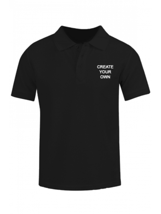 Side Print Black Cotton Polo T-Shirt- CB