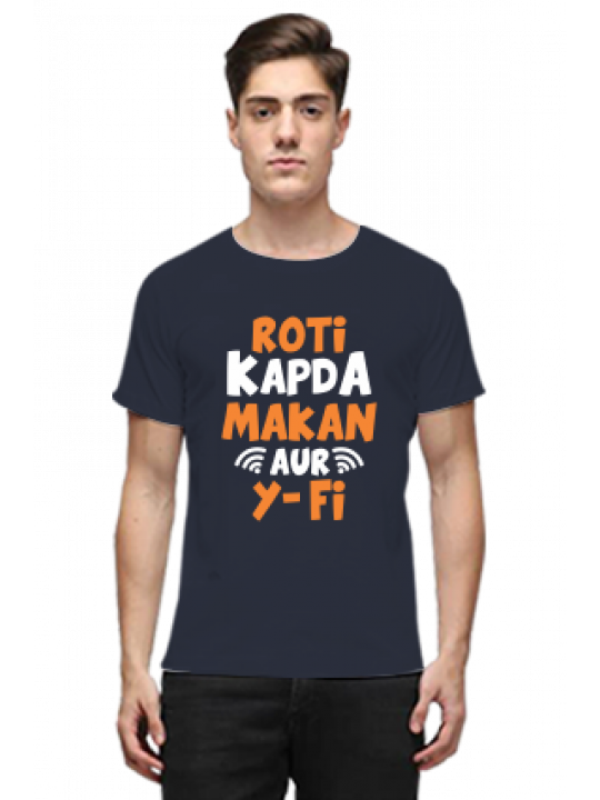 Roti Kapda Makan Aur Wi-fi Navy Blue Round Neck Cotton Effit T-Shirt