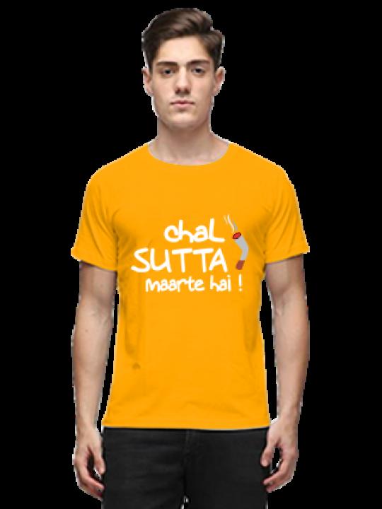 Chal Sutta Maarte hai Half Sleeves Yellow Round Neck Cotton Effit T-Shirt