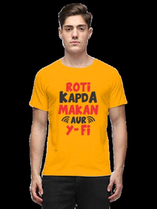 Roti Kapda Makan Aur Wi-fi Half Sleeves Yellow Round Neck Cotton Effit T-Shirt