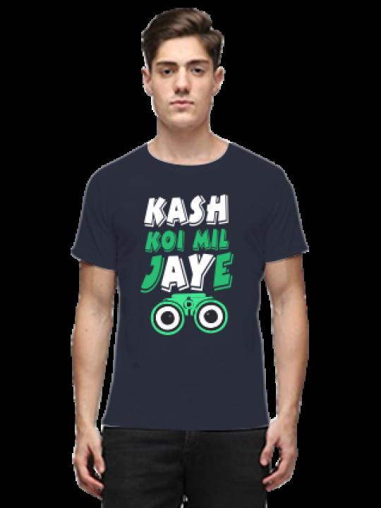 Kash Koi Mil Jaye Navy Blue Round Neck Cotton Effit T-Shirt