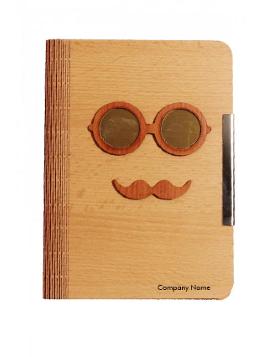 Mr. Mustaches Brown Wooden Notebook