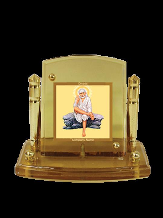 Designer Gold Plated Sai Baba Rock Pose Car Frame Acf P+