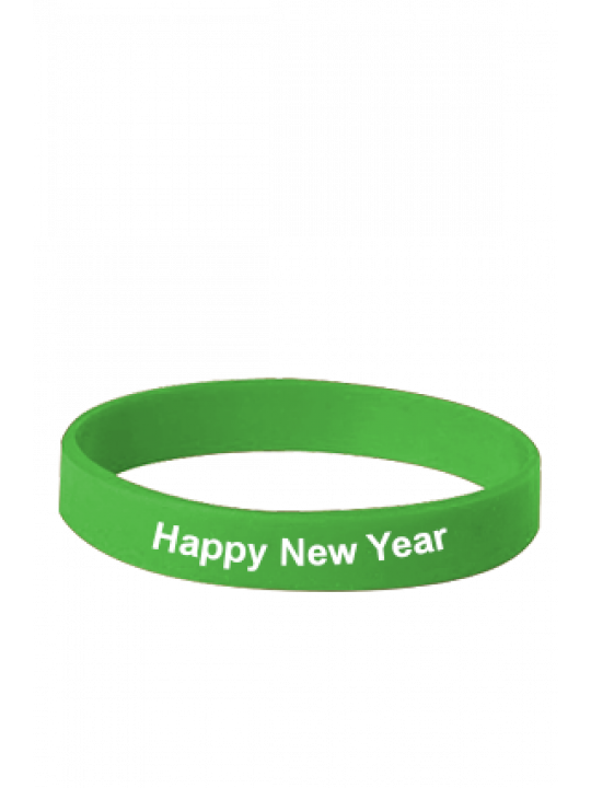 Happy New Year Green Silicon Wristband