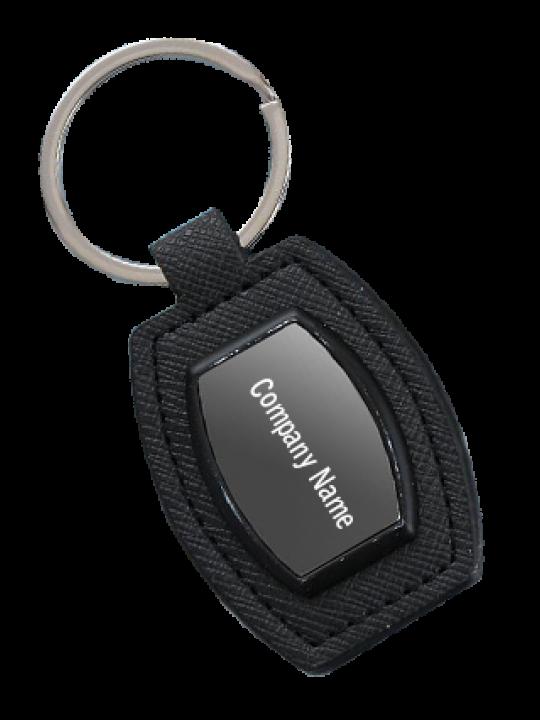 Promotional Barrel Shape Metal Keychain With PU Base J71