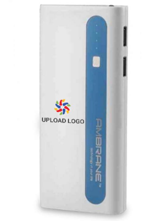 Business Upload Logo 13000mAh Ambrane Power Bank Sky Blue