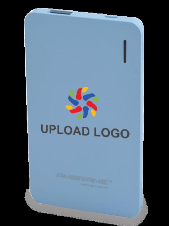 Upload Logo 4000mAh Ambrane Power Bank Sky Blue