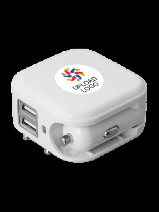 Upload Logo Dual USB Wall & Car charger E-117