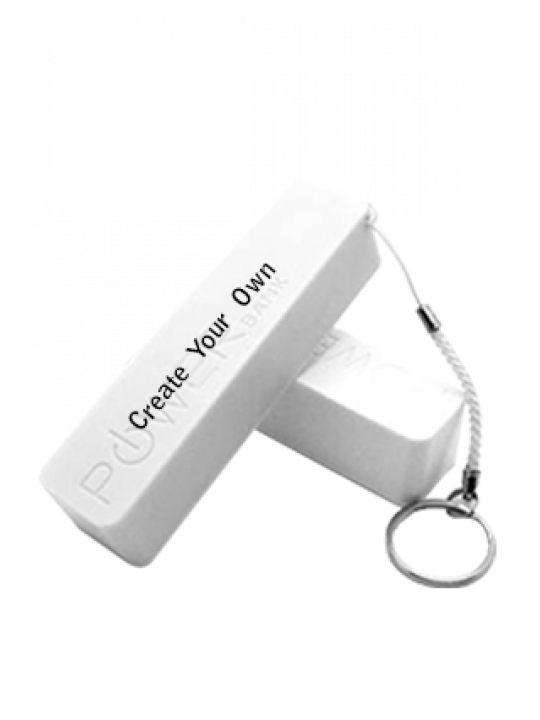 2600mAh Power Bank With Key Chain White - Business