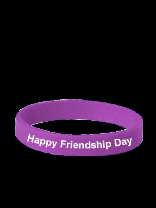Happy Friendship Day Purple Silicon Wristband