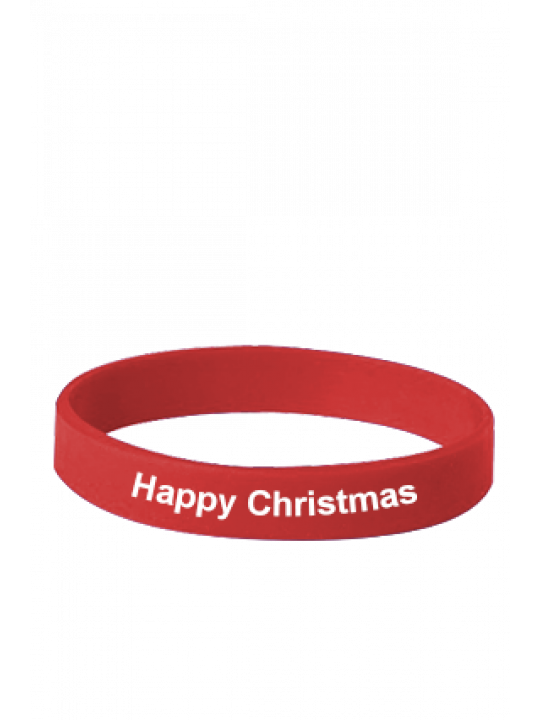 Happy Christmas Red Silicon Wristband
