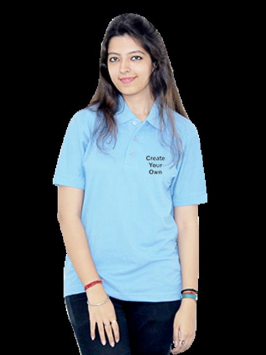 Side Print Sky Blue Cotton Girl Polo T-Shirt- CB