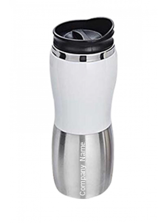 White Sipper (450 Ml) Silver With Black-GM-005