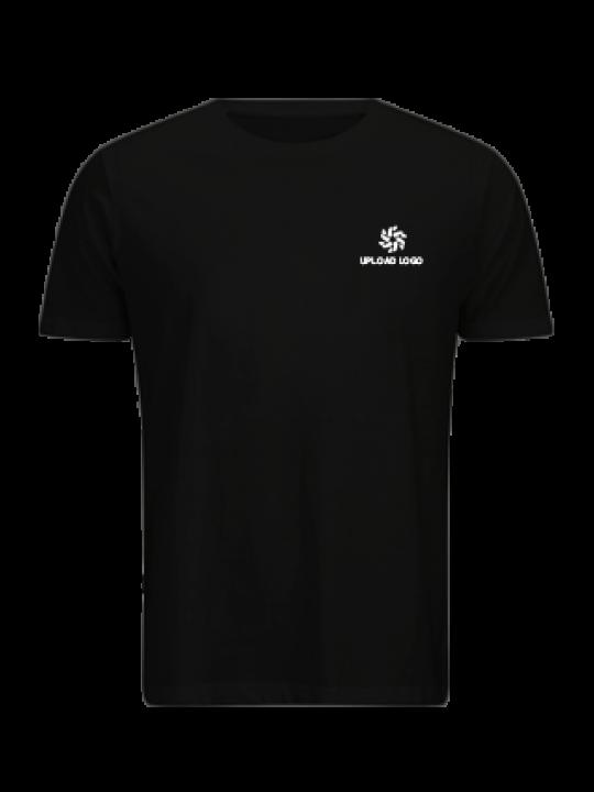 Upload Logo Black Cotton Crew Neck T-Shirt