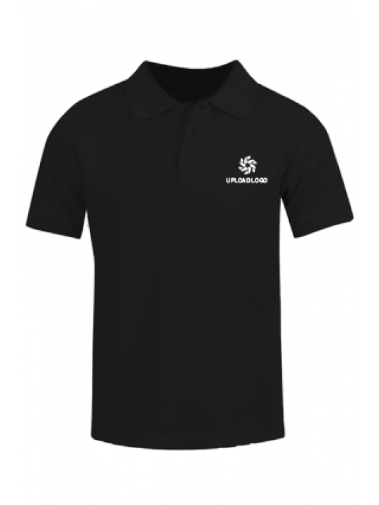 Corporate Upload Logo Black Cotton Polo T-Shirt