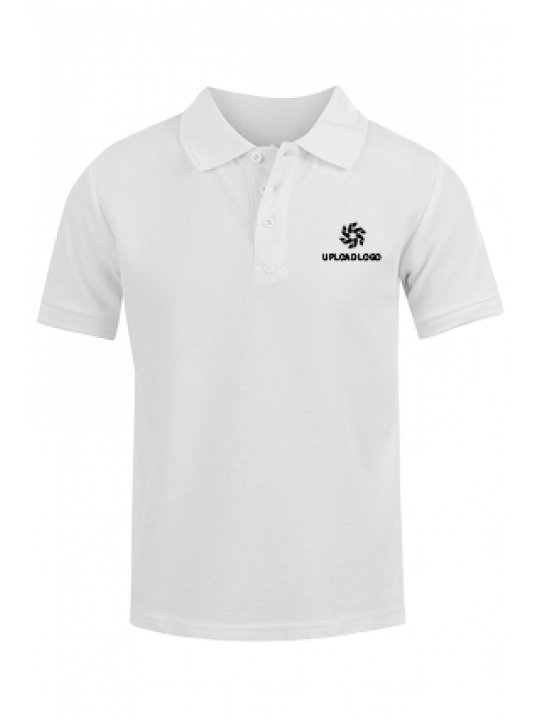 Promotional Upload Logo White Cotton Polo T-Shirt