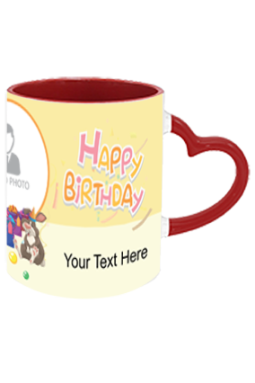 Cute Panda personalized Birthday Heart Handle Inside Maroon Redish Mug