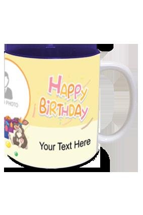 Cute Panda personalized Birthday Inside Blue Mug