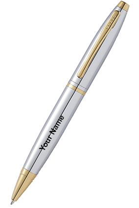 Cross AT0112-15 Cross Calais Chrome W 23Carat Gold Electeroplate Ball Pen