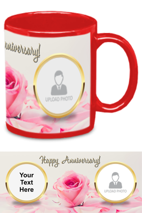 Pink Rose Customized Anniversary Red Patch Mug
