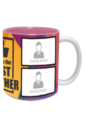 The Best Brother Personalized Exclusive Inside Pink Mug