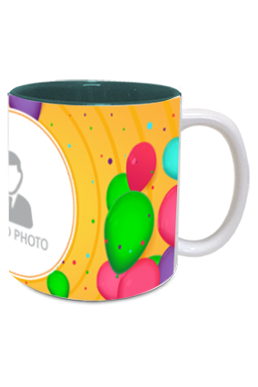 Colorful Balloons Customized Birthday Inside Green Mug