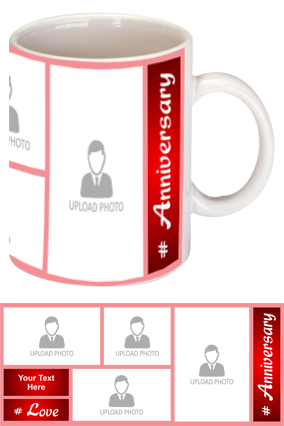 Red Personalized Anniversary Bone China Mug