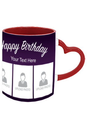 Lets Party Personalized Birthday Heart Handle Inside Maroon Redish Mug