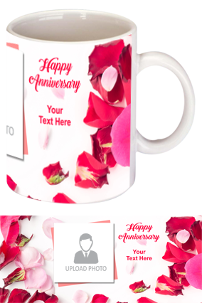Rose Leaves Personalized Anniversary Bone China Mug