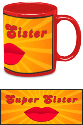 Personalized Super Sister Red Patch Mug