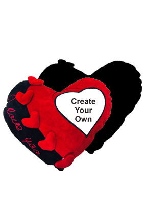Create Your Own Velvet Heart Shape Red & Black Love Cushion