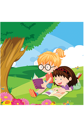 Reading Girls Square Canvas Print