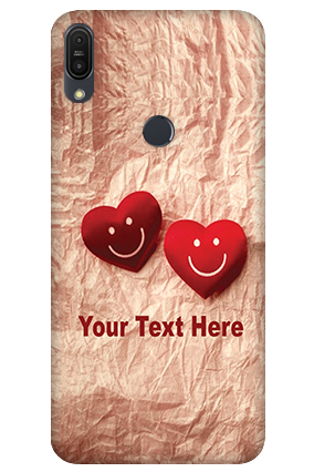3D - Asus ZenFone Max Pro M1 White High Grade Plastic Smiley Heart Mobile Cover