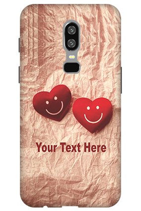 Amazing 3D-OnePlus 6 White High Grade Plastic Smiley Heart Mobile Cover