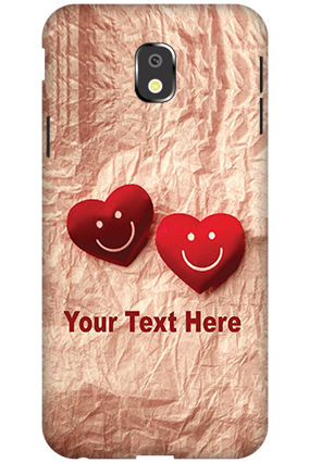 3D-Samsung Galaxy J3 (2017) White High Grade Plastic Smiley Heart Mobile Cover