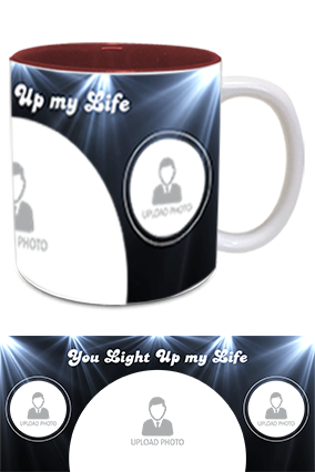 You Light Up My Life Printed Inside Maroon Mug