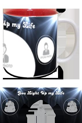 You Light Up My Life Printed Inside Red Mug