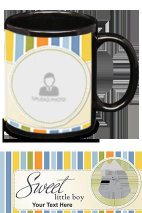 Sweet Little Boy Customized Kids Designer Black Patch Mug