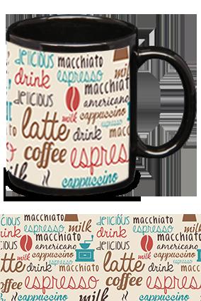 Coffee Love Trendy Black Patch Mug