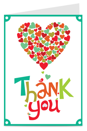 Personalised Heart Thank You Card