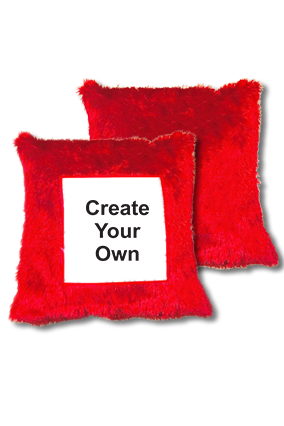 Create Your Own Fur Square Red Cushion