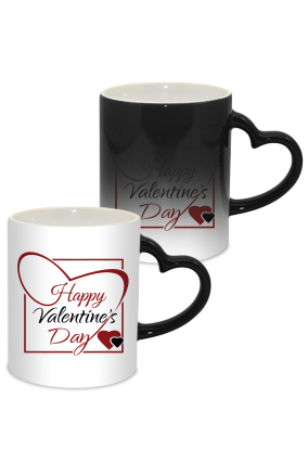 Big Heart Valentine Day Heart Handle Black Magic Mug